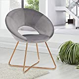 Duhome Modern Velvet Accent Chairs Upholstered Vanity Chairs Make-up Stool Home Office Guest Reception Chair Arm Leisure Chairs Dining Chair with Golden Legs Mid-Back for Living Room 1 pcs Grey