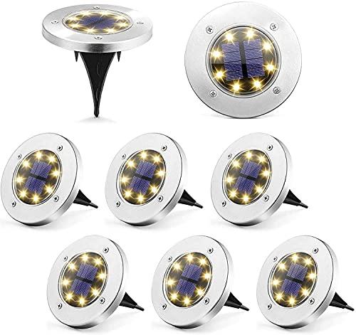 Puncools Solar Ground Lights, 8 Packs IP65 Waterproof Solar Garden Lights, Solar Powered LED Ground Lights for Night Deco &Lighting of Gardens, Yards, Pathways (Warm White)