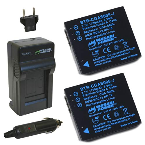 Wasabi Power Battery (2-Pack) and Charger for Panasonic CGA-S005, DMW-BCC12 and Panasonic Lumix DMC-FX9, DMC-FX10, DMC-FX12, DMC-FX50, DMC-FX100, DMC-FX150, DMC-FX180, DMC-LX1, DMC-LX2, DMC-LX3