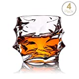 TOPLANET Set di 4 Bicchieri di Whiskey Bicchieri per Whisky Ultra Clarity Senza Piombo Old Fashioned Glass con 4pcs Tappetini, Bicchieri Whisky Cristallo per Bere Bourbon, Vodka (4PACK)