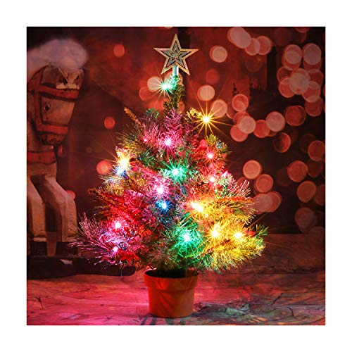 CASA CLAUSI Christmas Tree Tabletop Decorated Pre-lit Small Little 22 Inch with Ornaments 35 Multi-Colored Lights Artificial Green Tree