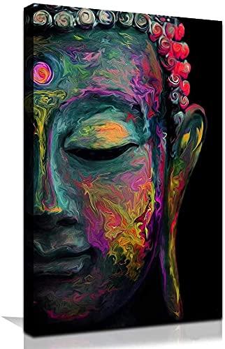 Faicai Art Buddha Wall Art Prints Colorful Buddha Face Canvas Paintings Red Purple Blue Yellow HD Printed Thai Paintings Abstract Home Decor Living Room Wall Decor 28'x40'