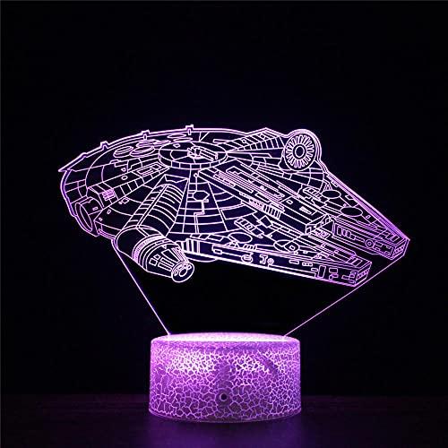 Lámpara de ilusión 3D Star Wars K LED noche luz 16 colores cambio automático interruptor táctil escritorio regalo cumpleaños con control remoto