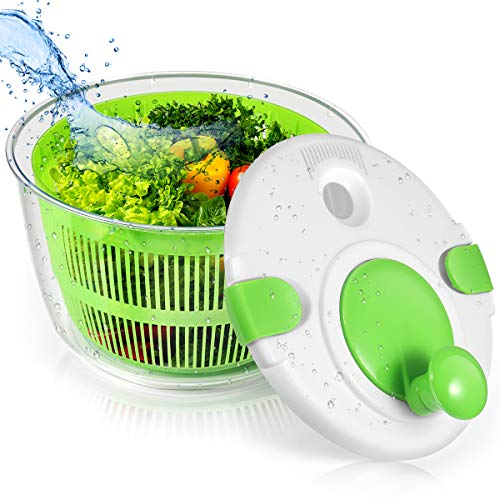 Salad Spinner, Vegetable Washer With Bowl, Vegetable Dehydrator With Lockable Filter Basket And Intelligent Lock Cover, Dehydration Basket With Convenient Drainage System And Compact Storage, Green