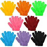 Kids Winter Knit Gloves, 8 Pairs Full Finger Stretchy Magic Gloves for Boys and Girls