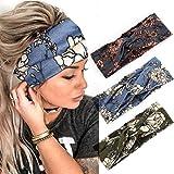 Zoestar Boho Criss Cross Fasce per capelli in stile floreale stampato a turbante annodato sciarpa per capelli elegante fascia elastica per donne e ragazze (confezione da 3) (set da 2)