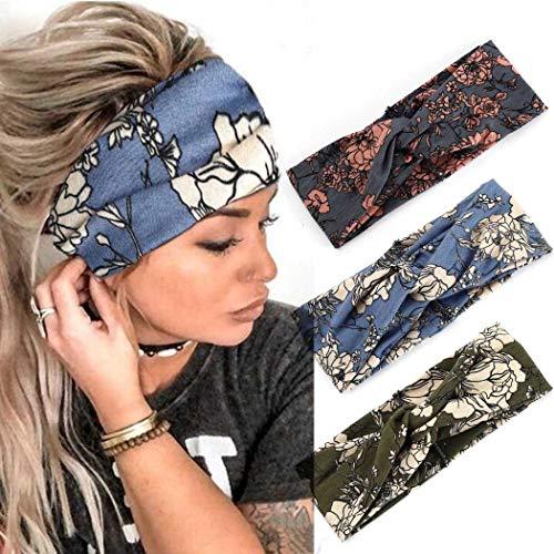 Zoestar Boho entrecruzados de estilo floral impreso para la cabeza envuelta turbante bufanda de pelo...