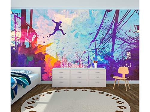 Fotomural Vinilo para Pared Infantil Salto en Grafiti| Fotomural para Paredes | Mural | Vinilo Decorativo | Varias Medidas 150 x 100 cm | Decoración comedores, Salones, Habitaciones.