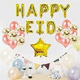 Mubarak Juego de Globos Mubarak Happy Eid Letter Foil Globos, Eid Decoración Globo Banner Set Eid Mubarak Letras Globo de Látex con Luna Para Ramadán Fiesta Decoración Decoración