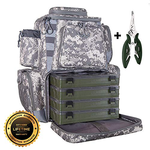 eTacklePro Fishing Backpack | Waterproof Tackle Bag with Protective Rain Cover | Includes 4 Tackle Boxes | Stainless Steel Fishing Pliers and Lanyard (Digital Camo)
