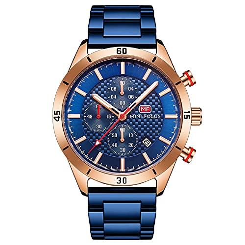 JTTM Relojes De Hombre, Reloj De Cuarzo Analógico De Negocios Único para Hombres Cronógrafo De Acero Inoxidable Relojes,Rose Blue