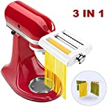 ANTREE 3 in 1 Roller & Cutters Attachment Set For KitchenAid Stand Mixers Included Pasta Sheet Roller, Spaghetti, Fettuccine Cutter Maker, Cleaning Brush & Pasta Drying Rack