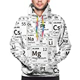 Sudadera con Capucha para Hombre Una Gran cantidad de Elementos químicos de la Tabla periódica, sin Costuras en Blanco y Negro, Sudadera en L