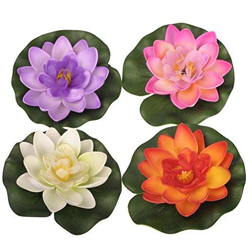 Ewandastore Set mit 4 schwimmenden Teich-Dekorationen Seerosen/Lotusblüten