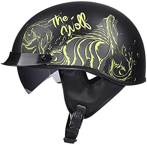 Cascos Medio Half-Helmet Casco Moto Abierto ECE Homologado Retro Vintage Style Cascos Half-Helmet con Visera Casco Moto Abierto para Adultos Hombres Mujeres E,L