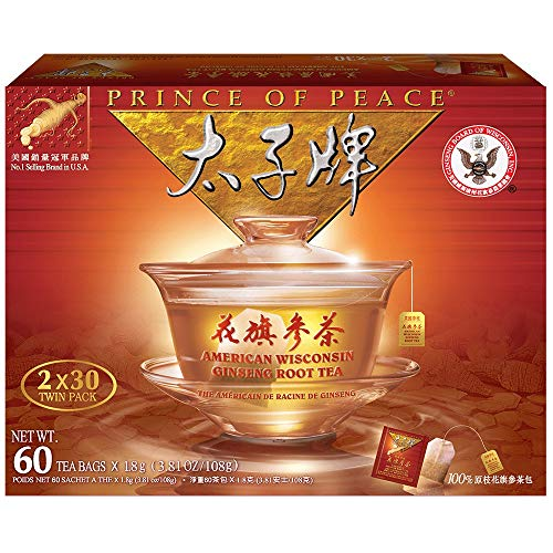 Prince of Peace - American Wisconsin Ginseng Root Tea (2 Boxes x 30 teabags Each) - 1 Box 60 teabags
