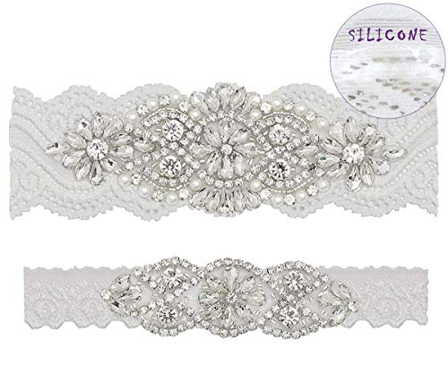 GARGALA Wedding Garters for Bride with Non-Slip Silicone, Lace Bridal Garter Set with Clear Rhinestones Crystal Pearl (M) Silver White