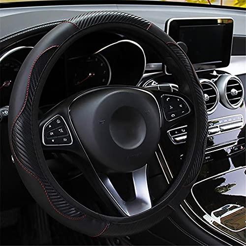 LMYDIDO Funda de cuero para volante de coche, antideslizante, transpirable, fibra de carbono, banda elástica deportiva sin anillo interior, tamaño universal, 37-39 cm, color negro