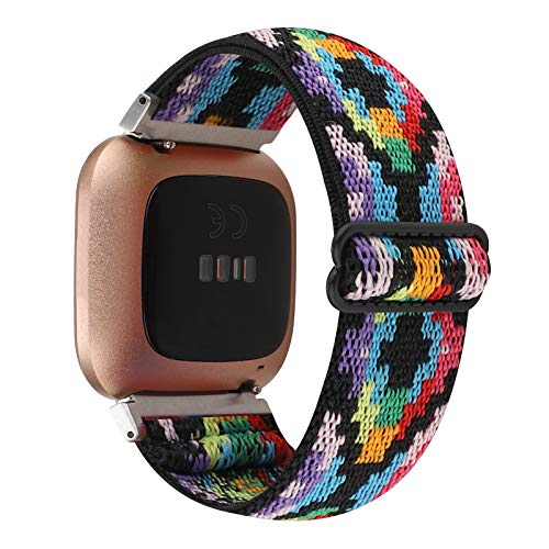 Adjustable Elastic Watch Band Compatible with Fitbit Versa/Versa 2/Versa Lite Special Edition for Women Men Nylon Stretchy Strap Wristband for Fitbit Versa Smart Watch (Black Colorful)