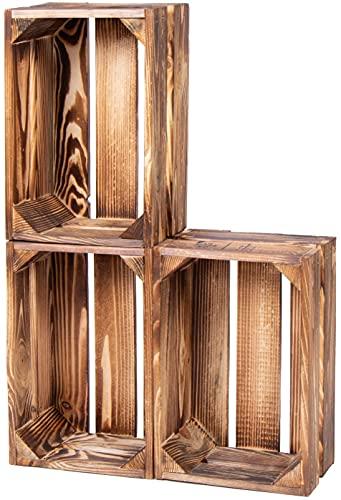 LAUBLUST Vintage Holzkisten 3er Set Geflammt | M - ca. 30 x 20 x 15 cm | Weinkisten & Obstkisten - Möbelkisten & Deko