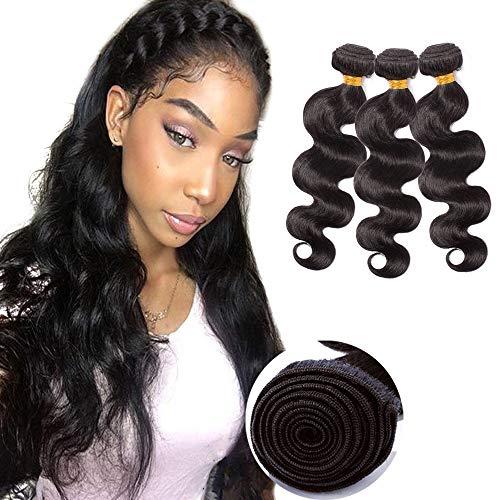 Unprocessed Human Hair Weaves Bundle Straight Sew in Hair Weft Extensions 100g/bundle Virgin Brazilian Hair 24' 24' 24' #1B Natural Black