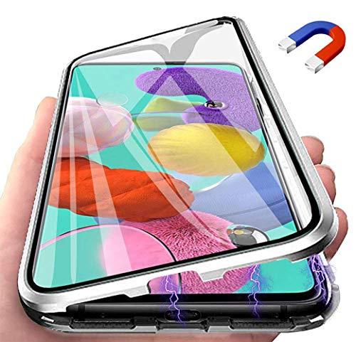 Funda para Samsung Galaxy A71 Adsorcion Magnetica Carcasa 360 Grados Protección Estuche, Doble Untre Delgada Háptico Vidrio Templado + Metal Bumper con Adsorción Magnética Carcasa, Plata