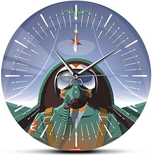 quanjiafu Reloj De Pared Cabina De Avión Reloj De Pared De Avión Piloto De Aviación Militar Decoración del Hogar Avión Volador Piloto De Chorro Reloj De Pared Reloj De Arte Reloj De Pared-30X30Cm