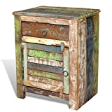 vidaXL Rustic End Table Bedside Cabinet Bedroom Antique Reclaimed Solid Wood Furniture