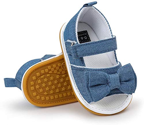 CoKate Baby Toddler Boy Girls Bow Knot Sandals First Walker Shoes (Classic Cowboy), Foot Length-11.5cm=4 1/2in 9-12Months