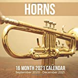 Horns 16 Month 2021 Calendar September 2020-December 2021: Musical Instrument Square Photo Book Monthly Pages 8.5 x 8.5 Inch