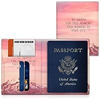 kwmobile パスポート ケース カードポケット 付き - PUレザー 旅券カバー パスポートカバー カードケース 薄ピンク/紫色/薄紅色