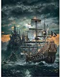1000 Pcs Jigsaw Puzzle for Adults,Teens Wooden Puzzle Pirate Ship Pattern Classic Educational Game Toys, Great Holid