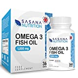 Sasana Nutrition Omega 3 1000mg Capsules- 365 Softgels 1 Years Supply of Premium