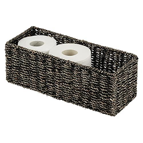 mDesign Cesta organizadora de Junco Marino Natural – Cesta Trenzada apilable para Accesorios de baño – Organizador de baño Rectangular Ideal para almacenaje – Negro