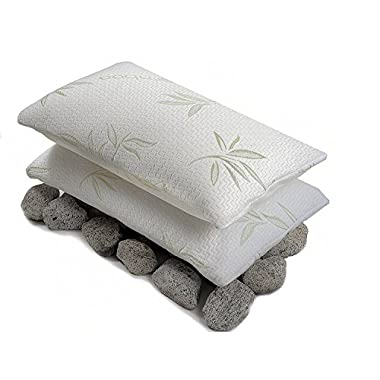 Bamboo Sleep - Ultra Cool Bamboo Memory Foam Pillow - Hypoallergenic Washable Cover - Queen Size (2 Pack)