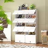 HOMEYFINE Zapatero, Sostén de Almacenamiento portátil de Zapatos, Cubos de Armario modulares para Ahorrar Espacio, Cajas de Almacenamiento de Zapatos y Zapatillas, Blanco(2/7)