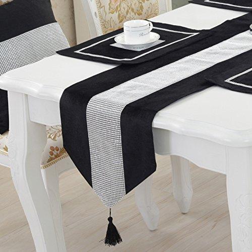 TINWARM Juego de 5 caminos de mesa clásicos de ladrillo brillante con borlas + 4 manteles individuales para decoración de bodas y fiestas de Navidad (terciopelo negro)