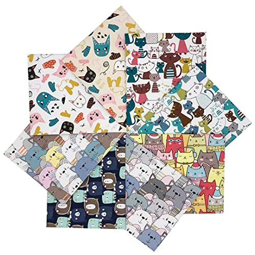 8pcs 100% Cotton Fabric 22 x 18 inches (55 x 45 cm) Fat Quarters Fabric Bundles Pre-Cut Quilt Squares Fabric Scraps for Sewing Quilting Masks and Other DIY Patchwork Crafts. (Animal Multi B)