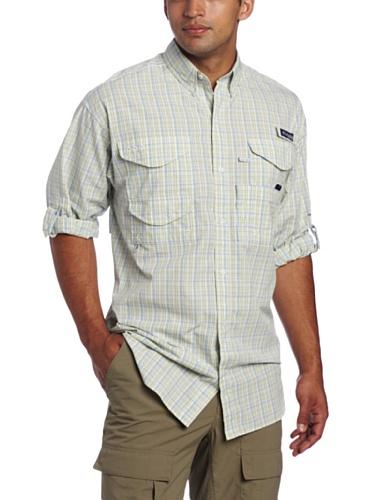 Columbia Herren Super Bonehead Klassisches Langarmshirt, weiße Kappe/Spacedye Plaid, Größe L