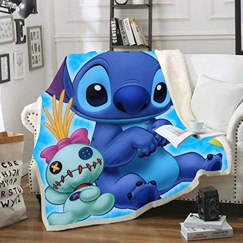 Goplnma-Disney Stitch Decke,Lilo Und Stitch Kuscheldecke Flanelldecke Für KinderundErwachsene, Tagesdecke Sofadecken,3D-Druck (150 * 200,11)