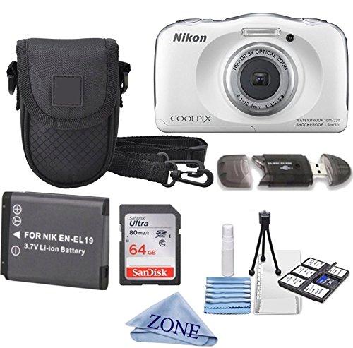 Nikon COOLPIX S33 White Waterproof Digital Camera + Extra Battery, 64GB Memory Card+ Accessory Zone Cloth + Accessory Bundle