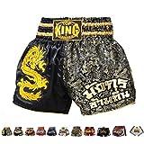 Top King Boxing Muay Thai Shorts Normal or Retro Style Size S, M, L, XL, 3L, 4L (Black/Gold Dragon XL)