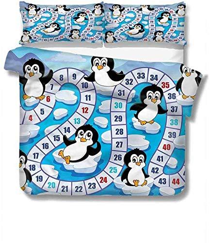 SUPERQIAO Brettspiel Pure Bedding Hotel Bettwäsche Cute Penguins Antarctica Polyester - Weich und Atmungsaktiv
