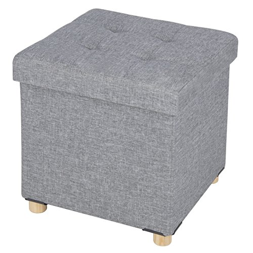 WOLTU Sitzhocker Sitzbank Faltbar Sitztruhen Aufbewahrungsbox, mit Abnehmbaren Holzbeine, Gepolsterte Sitzfläche aus Leinen, 38x37,5x38CM(BxTxH), Hellgrau, SH25hgr