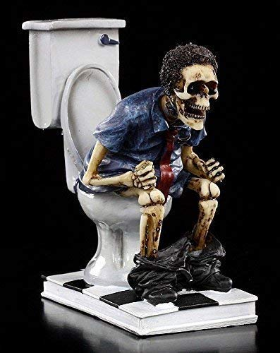 Lustige Skelett Figur | S(h)it too long | Deko Figur Toilette Bad WC