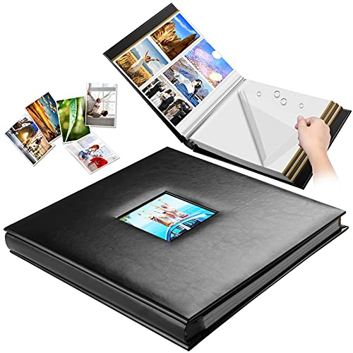 Self-Adhesive Photo Album, Black Leather Cover Sticky Pages, Magnetic Scrapbook Family Book for Christmas Gifts, Birthday Wedding Memory Picture Albums Holds 4X6, 5X7, 6X8,8X10,10x12 (60 pages/ Large)