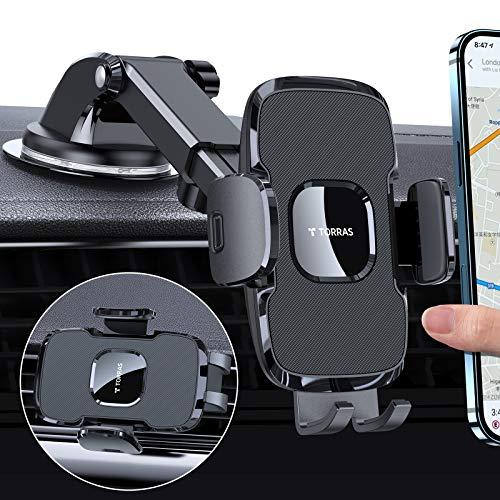 2020最新進化版TORRAS車載ホルダー 車 スマホホルダー 新開発2in1強力ゲル吸盤式 エアコン出し口式兼用 スマホスタンド オートホールド式 機械式伸縮アーム 取り付け簡単 ワンタッチ 360度回転可能 手帳型ケース対応 片手操作 技術革新 多機種対応 iPhone/Galaxy/xperi