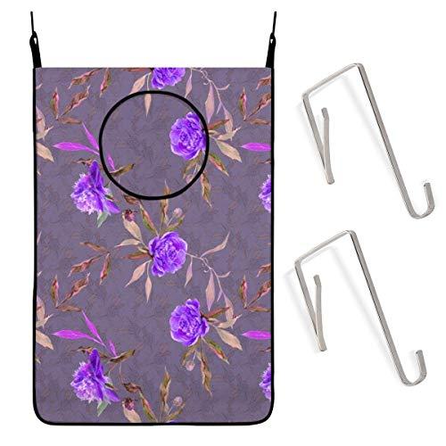 Asa Dutt528251 Peony On Violet Floral Flowers Bolsa para cesto de lavandería Colgante con Puerta de Acero Inoxidable Ajustable Gratis 2 Ganchos de Ventosa para Sujetar la Ropa Sucia y Ahorrar Espacio