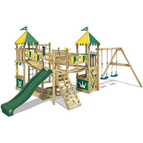WICKEY Speeltoestel voor tuin Smart Queen met schommel en groene glijbaan, Houten speeltuig, Speeltoren voor buiten met zandbak en klimladder voor kinderen