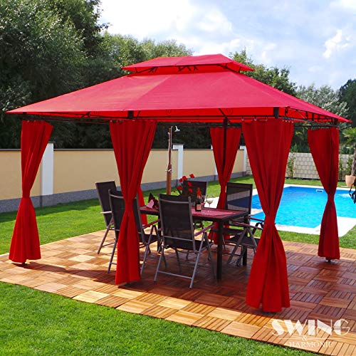 Swing & Harmonie Pavillon 3x4m Minzo - inklusive Seitenwände Gartenpavillon Partyzelt Gartenzelt (ohne Moskitonetz, rot)